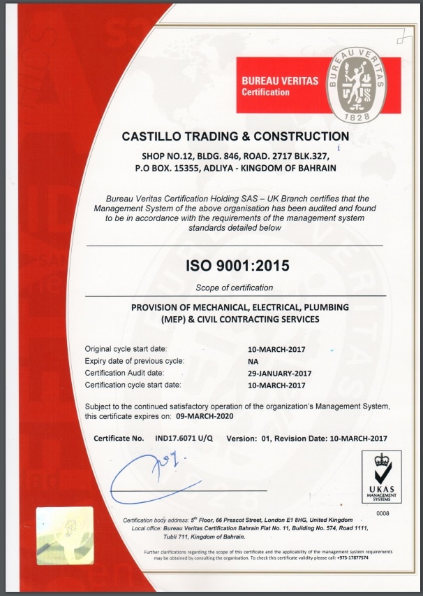 CERTIFICATES - Castillo Trading & Contracting
